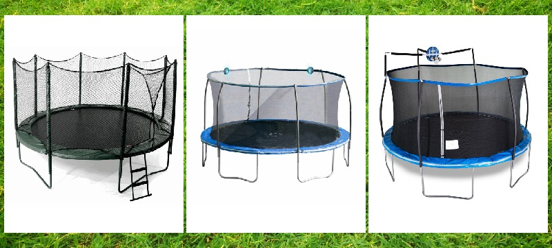 the three bounce pro trampolines in white background for a glance