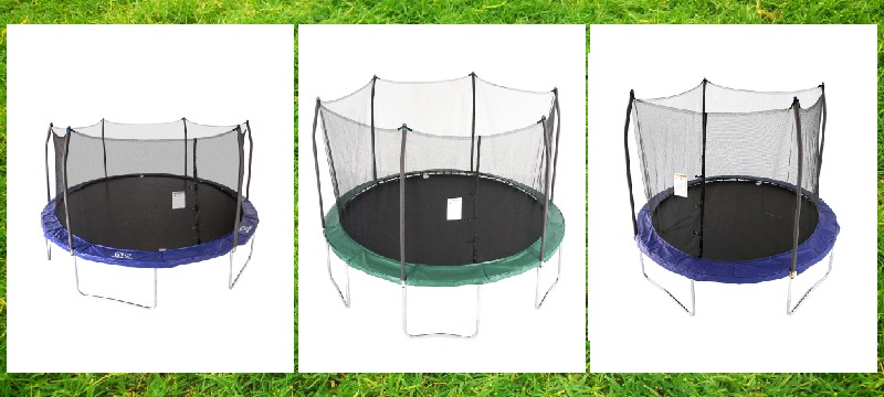 the three of oval skywalker trampolines with nets