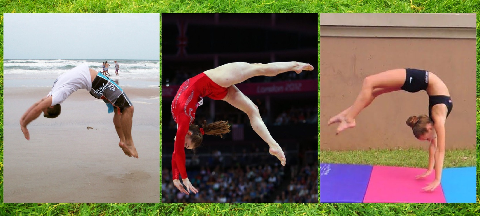 three pictures perform back handspring in correct way