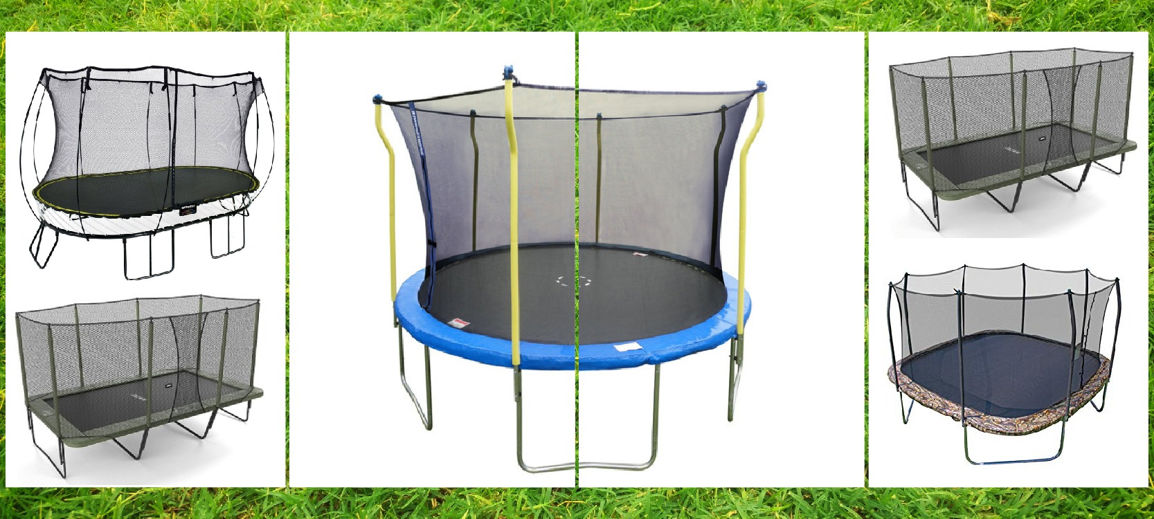 the five trampolines for shape collection rectangular vs oval vs round vs square
