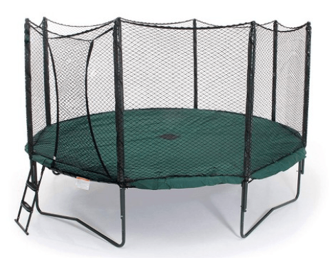 the jumpsport trampoline has stairs and net