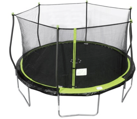 a rounded bounce pro trampoline has safety zipper