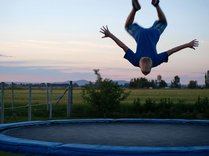 nice move of a boy on trampoline