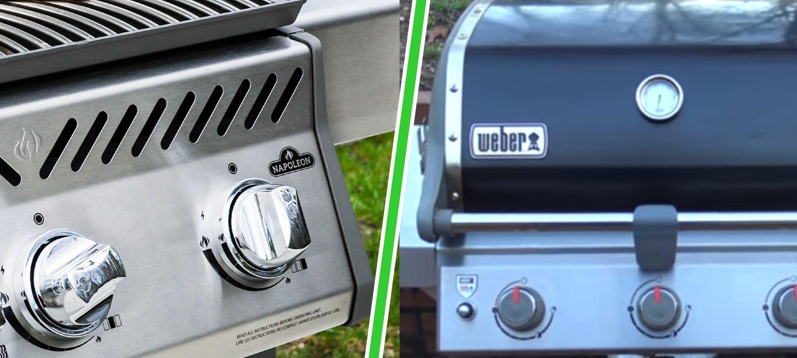 napoleon versus weber gas grills close up view