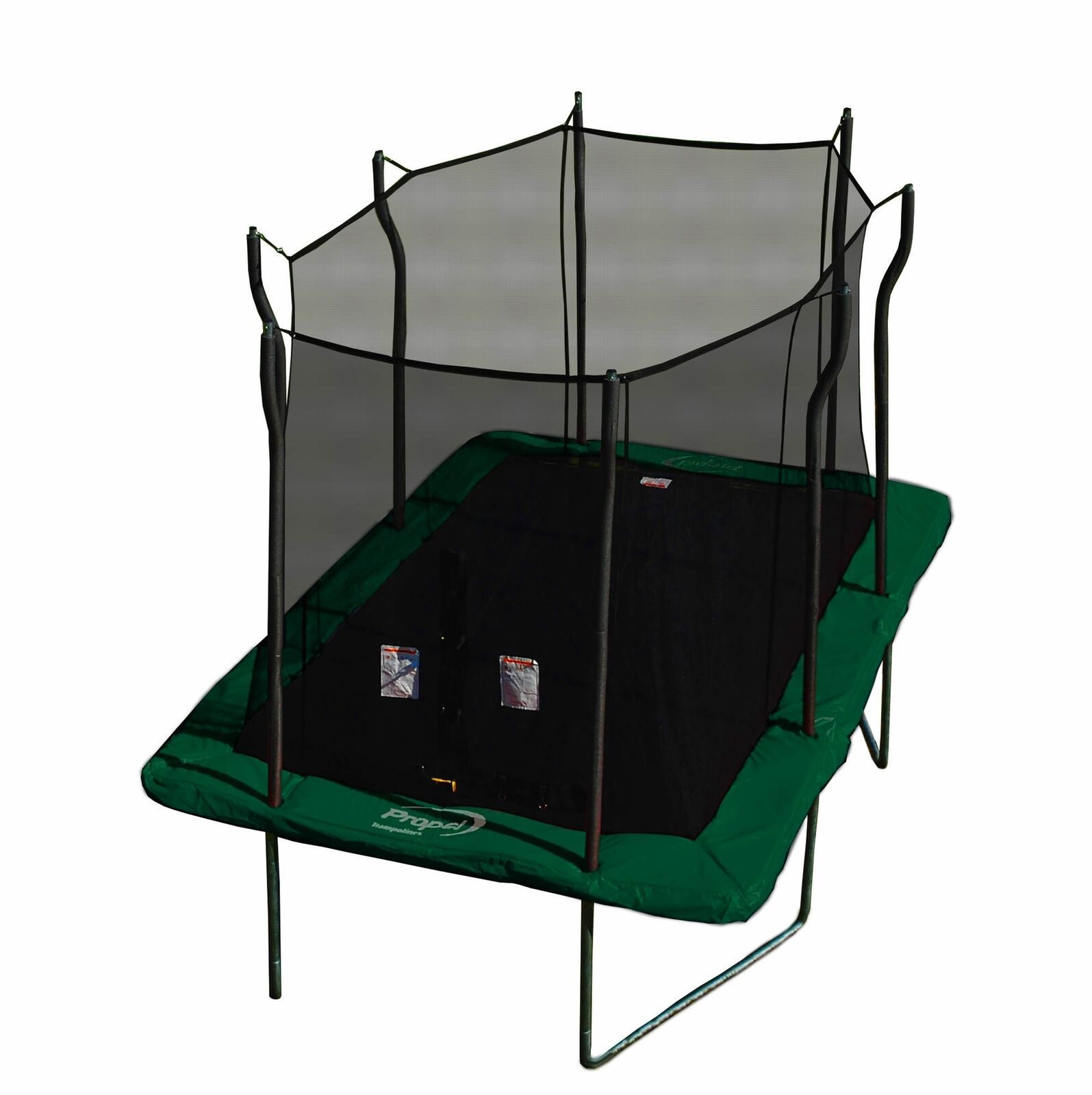rectangular propel trampoline and surrounding net