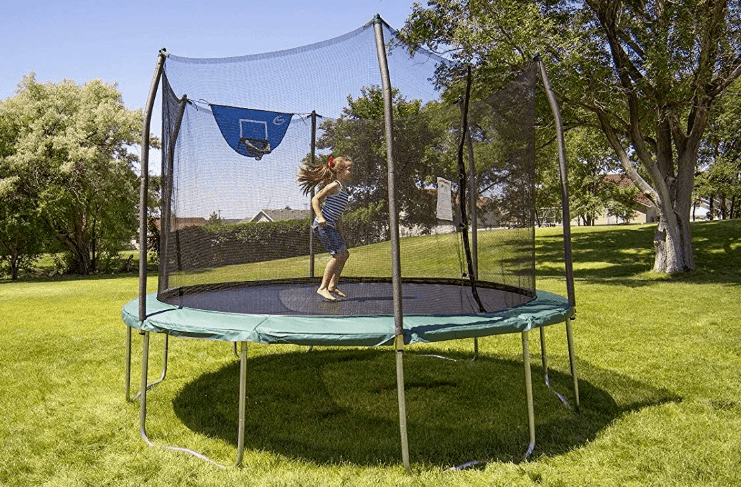 a little girl jumping on skywalker trampoline safely