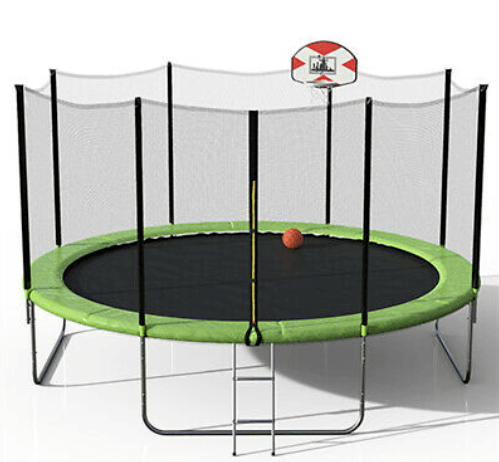oval zupapa trampoline has basketball hoop